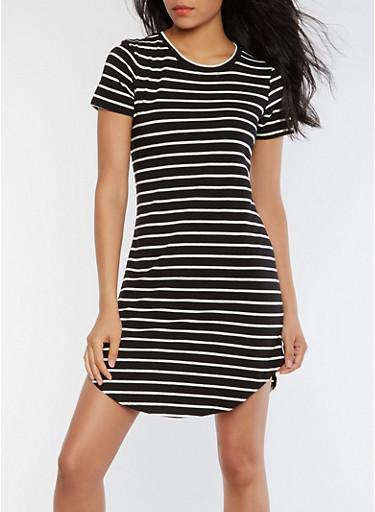 Striped Short Sleeve T Shirt Dress,BLACK/WHITE,large