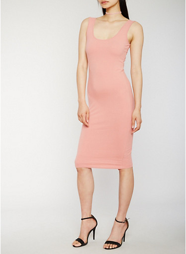 Solid Bodycon Tank Dress,ROSE,large