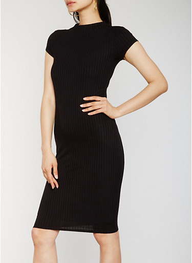 Funnel Neck Rib Knit Midi Dress,BLACK,large