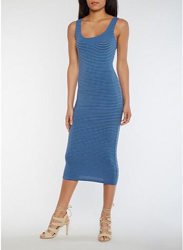 Striped Tank Dress,BLUE,large