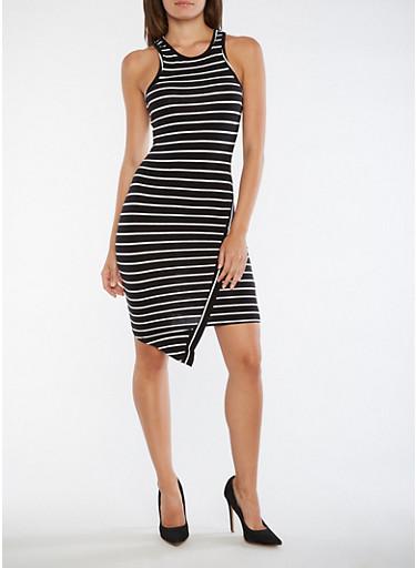 Striped Asymmetrical Hem Tank Dress,BLACK/WHITE,large