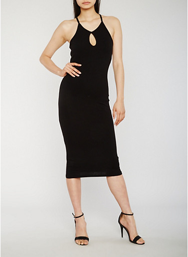 Sleeveless Midi Dress with Keyhole,BLACK,large
