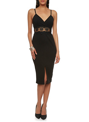 Textural Bodycon Dress with Crochet Empire Waist and V-Neck,BLACK,large