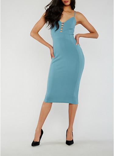 Solid Caged V Neck Midi Dress,TEAL,large