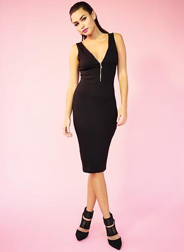 Rib Knit Zip Front Midi Dress,BLACK,large