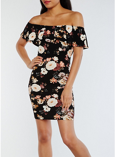 Ruffled Off the Shoulder Floral Dress,BLACK,large