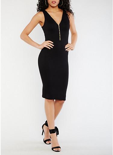 Sleeveless Mid Zip Bodycon Dress,BLACK,large