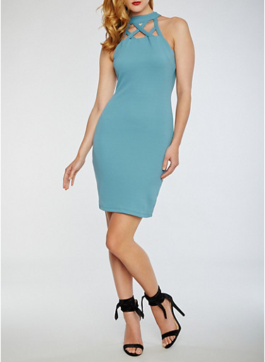 Caged Midi Bodycon Dress,TEAL,large