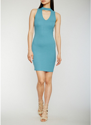 Sleeveless Rib Knit Keyhole Choker Dress,TEAL,large