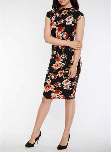 Floral Funnel Neck Midi Dress,BLACK,large