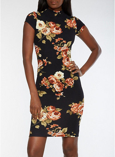 Short Sleeve Floral Print Midi Dress with Keyhole Back,BLACK MULTI,large