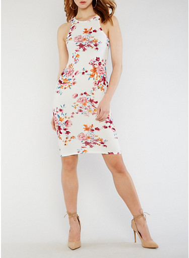 Floral Midi Bodycon Dress,IVORY,large