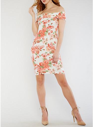Off the Shoulder Floral Knit Dress,IVORY COMBO,large