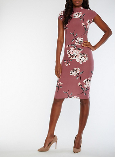 Floral Funnel Neck Bodycon Dress,DUSTY PLUM,large