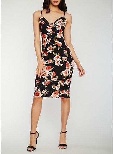Floral Caged V Neck Midi Dress,BLACK,large