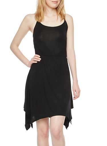 Asymmetrical Dress with Lace-Up Back,BLACK,large