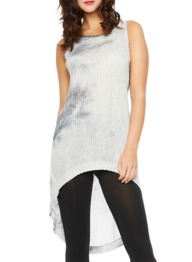 Tie-Dye Tunic Top with High-Low Hem,GRAY/BLACK,large