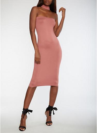 Choker Neck Bodycon Dress,DUSTY PINK,large