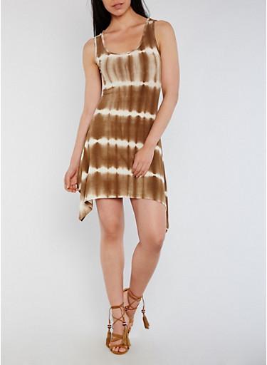 Sleeveless Tie Dye Sharkbite Hem Mini Dress,TOWN TAUPE,large