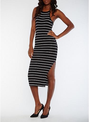 Striped Halter Neck Rib Knit Dress,BLACK/WHITE,large
