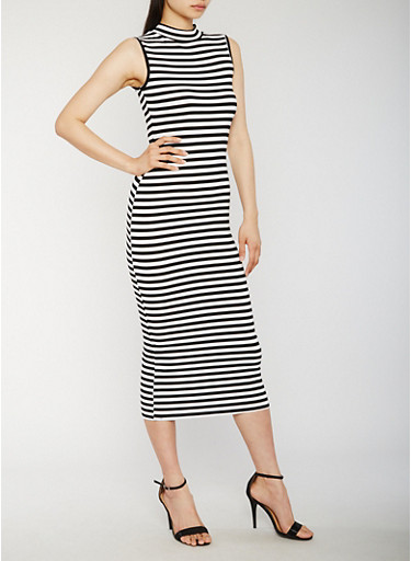 Striped Mock Neck Maxi Dress,BLACK/WHITE,large