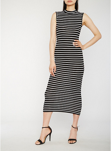 Striped Maxi Dress,BLACK/WHITE,large