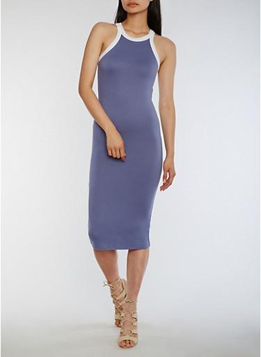 Soft Knit Halter Tank Dress,HERON/WHT,large