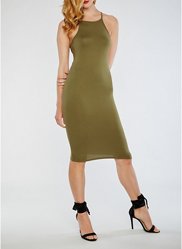 Solid Bodycon Midi Dress,OLIVE,large