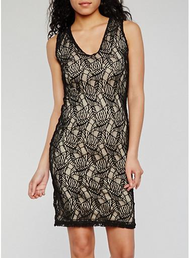 Sleeveless Lace V Neck Sheath Dress,BLACK,large