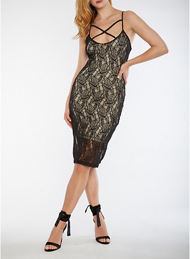 Caged Lace Bodycon Dress,BLACK/NUDE,large