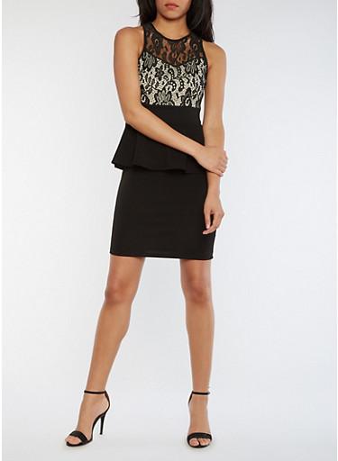 Sleeveless Lace Peplum Dress,BLACK,large