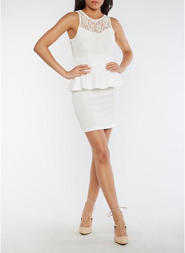Sleeveless Lace Peplum Dress,WHITE,large