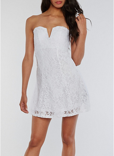 Strapless Lace Skater Dress,WHITE,large