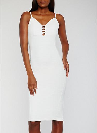 Sleeveless Caged V Neck Bandage Dress,IVORY,large