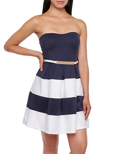 Strapless Color Block Dress with Belt,NAVY,large