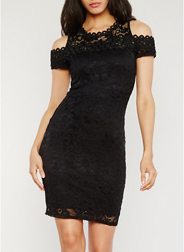 Lace Cold Shoulder Sheath Dress,BLACK,large