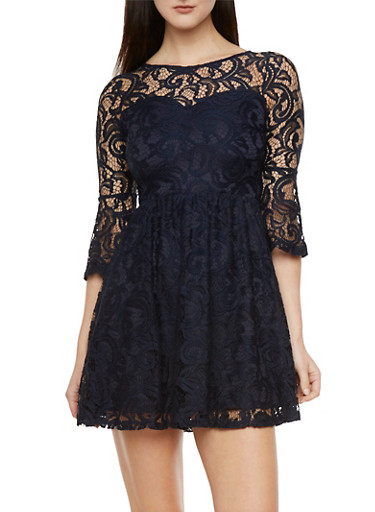 Lace Dress with Sweetheart Illusion Neckline,NAVY,large