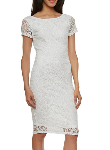 Lace Dress with Plunging Back,WHITE,large