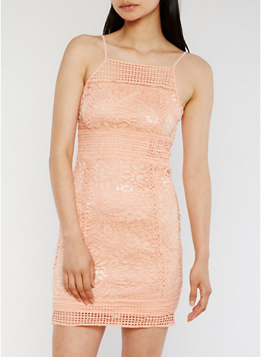 Lace Bodycon Dress with Zip Back,BLUSH,large