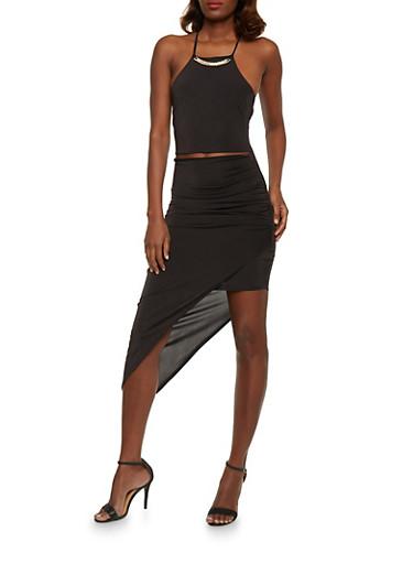 Spaghetti Strap Bodycon Dress with Asymmetrical Hem,BLACK,large