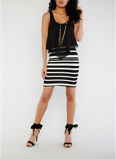 Striped Chiffon Overlay Bodycon Dress with Necklace,BLACK/WHITE,large