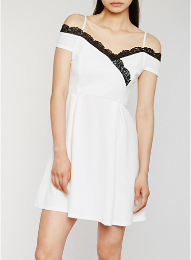 Off the Shoulder Dress with Crochet Trim,OFF-WHITE/BLACK,large