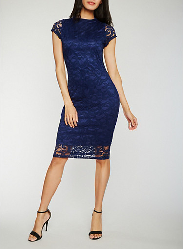 Lace Midi Sheath Dress,NAVY,large