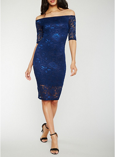 Off the Shoulder Lace Midi Dress,NAVY,large