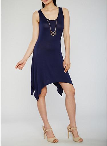 Sleeveless Hanky Hem Tank Dress with Necklace,NAVY,large
