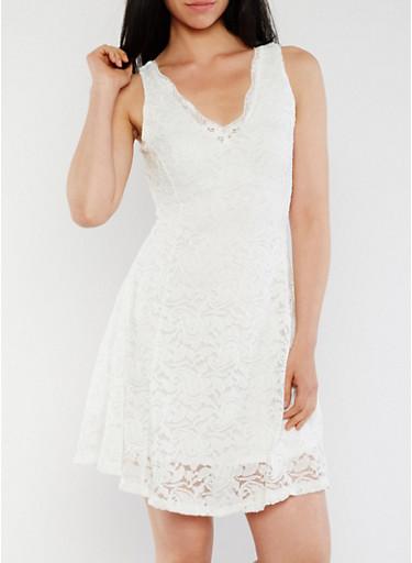 Sleeveless Lace Skater Dress with V Neck,OFF-WHITE,large