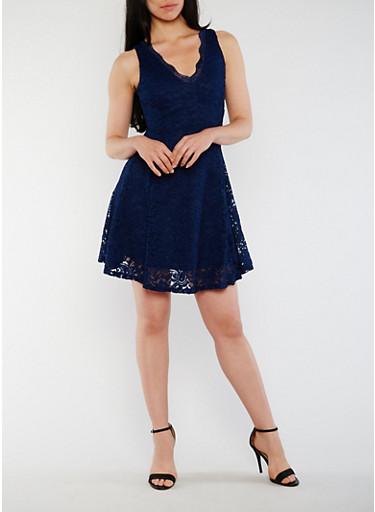 Sleeveless Lace Skater Dress with V Neck,NAVY,large