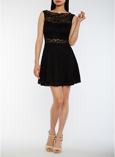 Sleeveless Lace Skater Dress,BLACK,large