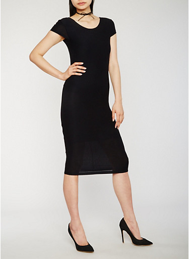 Soft Knit Bodycon Dress with Caged Back,BLACK,large