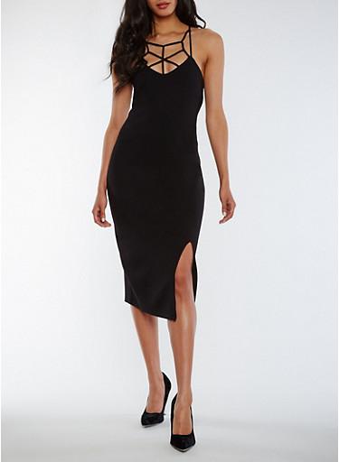 Caged Ponte Knit Midi Dress,BLACK,large